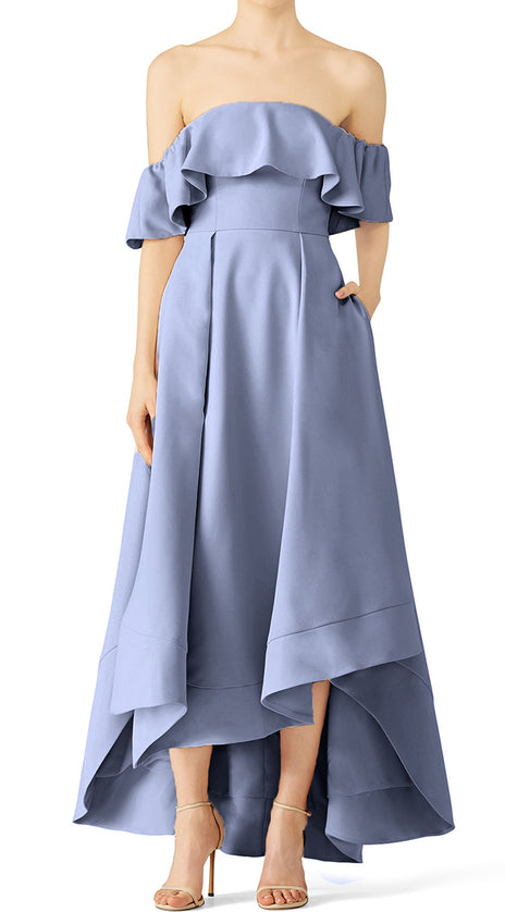 MACloth Off the Shoulder High Low Formal Evening Gown Steel Blue Wedding Party Dress