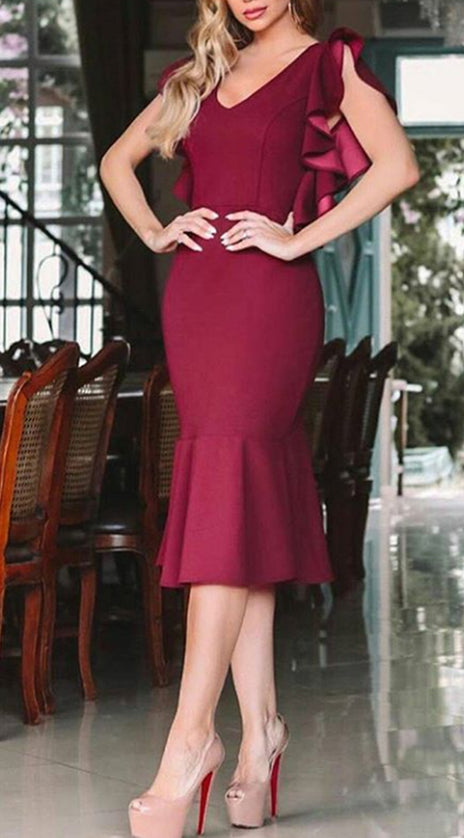 MACloth Ruffled Sleeves Midi Burgundy Cocktail Dress Sheath Wedding Party Dress