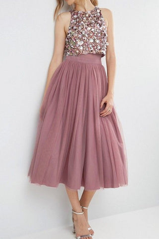 MACloth Two Piece Sequined Tulle Midi Bridesmaid Dress Dusty Rose Cocktail Dress