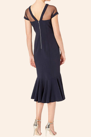 MACloth Cap Sleeves Illusion Sheath Midi Formal Party Dress Elegant Mother of the Bride Dress