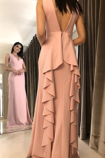 MACloth Straps V Neck Sheath Long Prom Dress Pink Formal Evening Gown