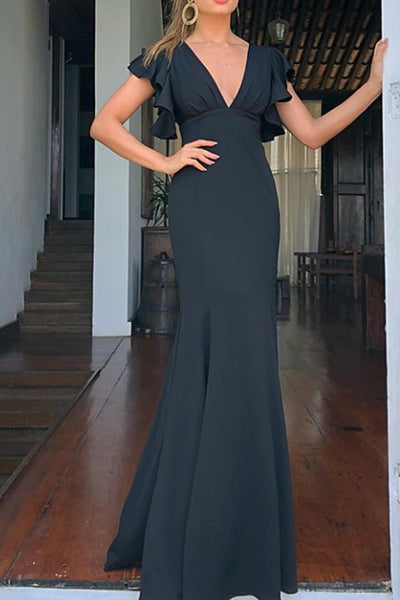 MACloth Ruffled Sleeves V Neck Sheath Formal Evening Gown