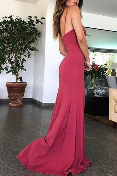 MACloth Mermaid Halter Wine Red Evening Gown Jersey Wedding Party Dress