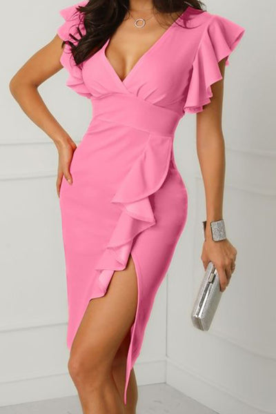 MACloth Ruffled Sleeves V Neck Midi Formal Party Dress Pink Cocktail Dress