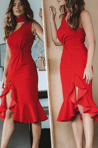 MACloth One Shoulder Sheath Midi Formal Party Dress Red Cocktail Dress