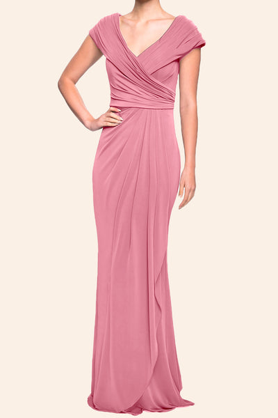MACloth Cap Sleeves V neck Jersey Long Mother of the Brides Dress Dusty Rose Evening Gown