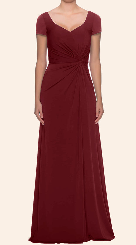 MACloth Cap Sleeves V Neck Jersey Mother of the Brides Dress Burgundy Formal Evening Gown