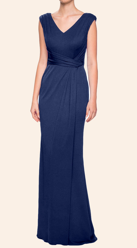 MACloth Straps V Neck Sheath Dark Navy Mother of the Brides Dress Jersey Formal Evening Gown