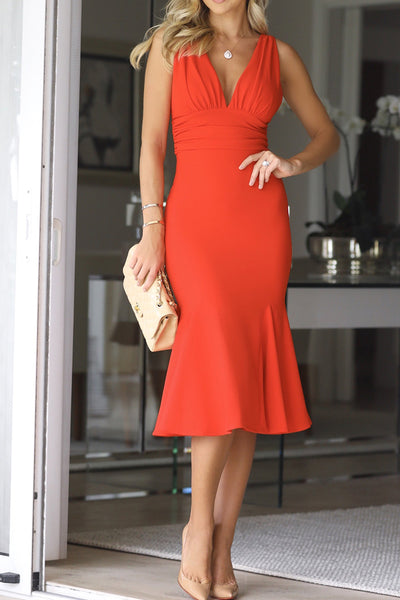 MACloth Straps V neck Sheath Midi Cocktail Dress Red Wedding Party Dress