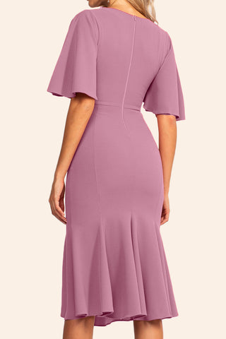MACloth Short Sleeves Midi Pink Cocktail Dress Jersey Tea Length Formal Party Dress