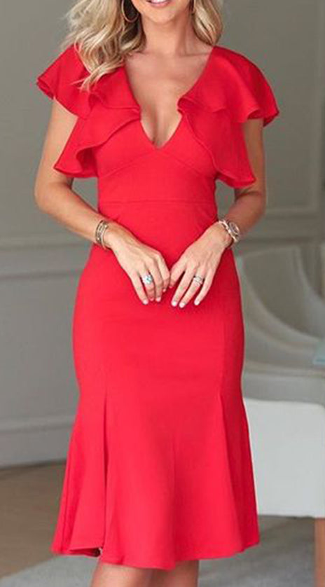MACloth Cap Sleeves V neck Midi Red Cocktail Dress Jersey Formal Party Dress