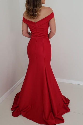 MACloth Mermaid Off the Shoulder Satin Prom Dress Red Formal Evening Gown