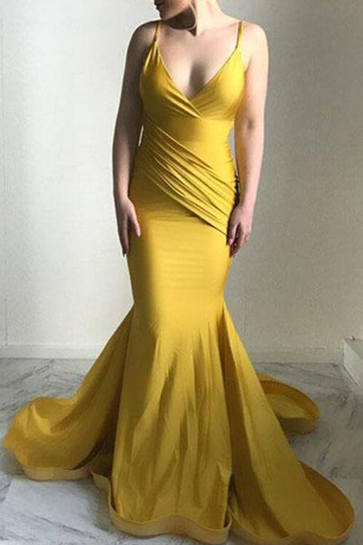 MACloth V Neck Jersey Gold Pageant Prom Gown Formal Evening Dress