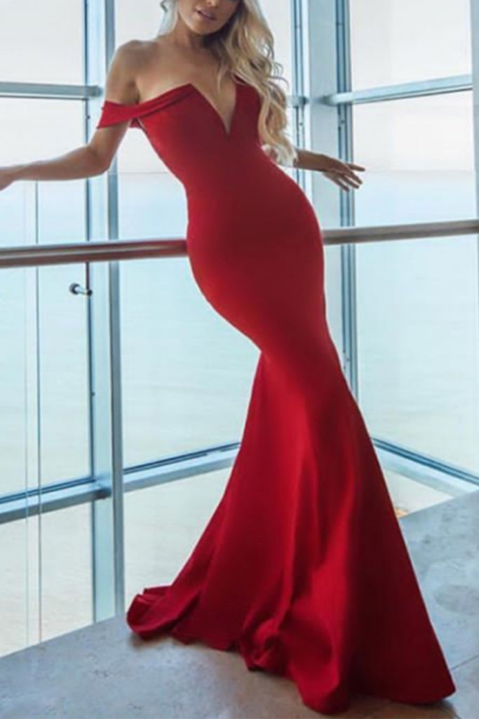 MACloth Mermaid Off the Shoulder Red Prom Pageant Gown Formal Evening Dress
