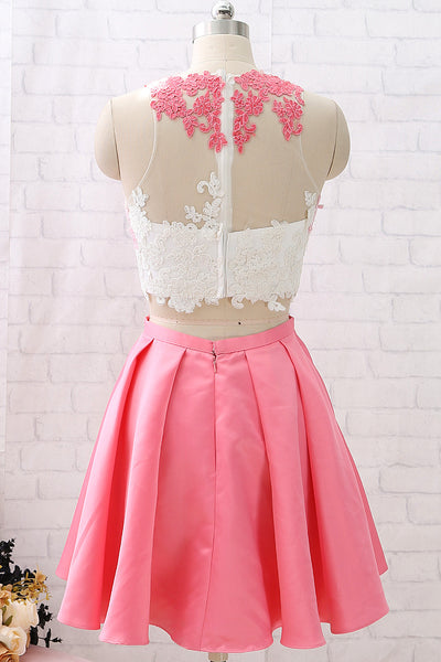 MACloth Two Piece Lace Satin Mini Pink Prom Homecoming Dress