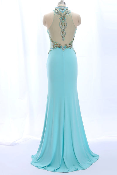 MACloth Sheath High neck Beaded Long Aqua Prom Dress Jersey Formal Gown