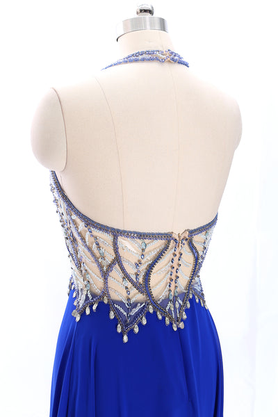MACloth Halter Beaded Long Chiffon Prom Dress Royal Blue Formal Gown