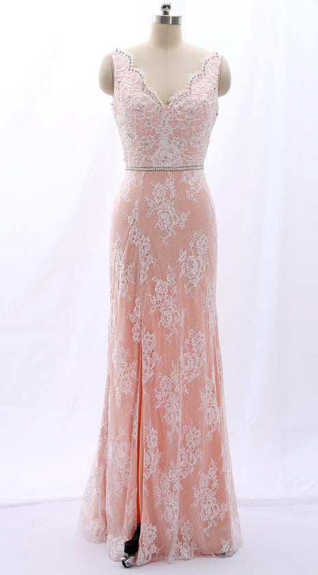 MACloth Straps V Neck Beaded Lace Pink Formal Evening Gown