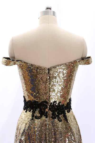 MACloth Off the Shoulder Sequin Mini Prom Homecoming Dress Gold Party Dress