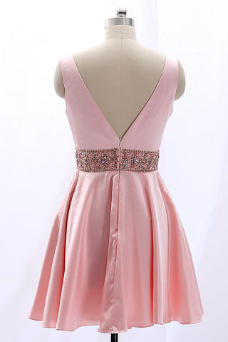 4fba4206d3e ... MACloth Deep V Neck Satin Pink Mini Prom Homecoming Dress Wedding Party  Dress