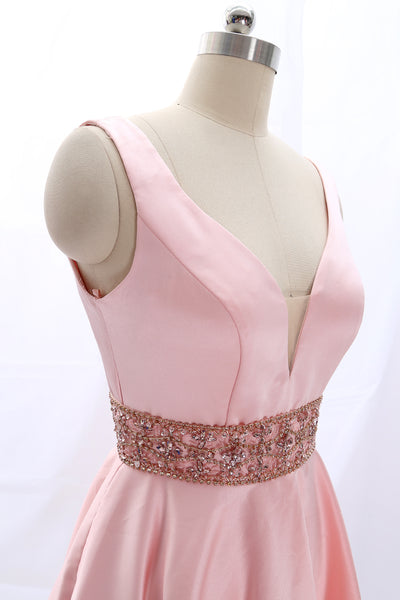 MACloth Deep V Neck Satin Pink Mini Prom Homecoming Dress Wedding Party Dress