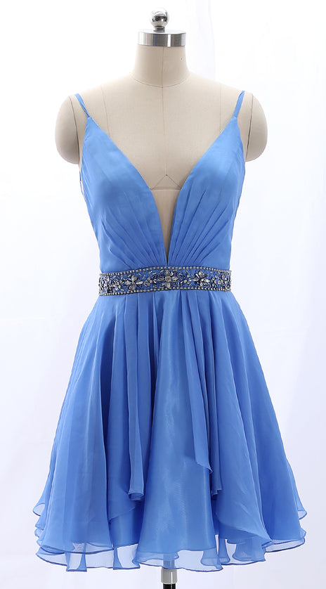 MACloth Straps V Neck Chiffon Short Prom Homecoming Dress Blue Wedding Party Dress