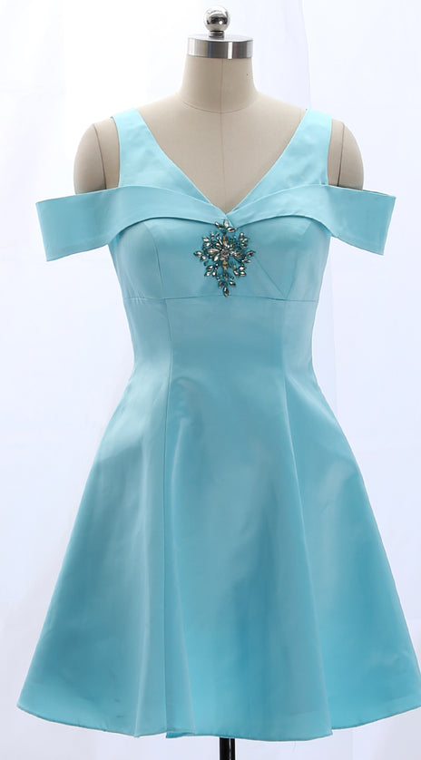 MACloth Off the Shoulder Sky Blue Satin Mini Prom Homecoming Dress Wedding Party Formal Gown