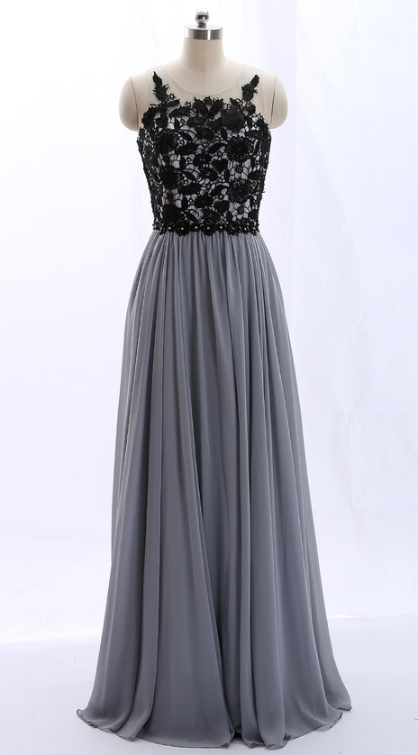 MACloth O Neck Lace Chiffon Gray Vintage Long Prom Dress Formal Evening Gown
