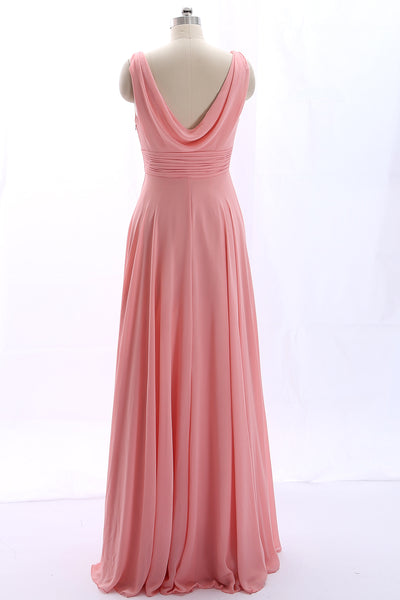 MACloth Straps V Neck Cowl Back Chiffon Peach Prom Dress Long Bridesmaid Gown