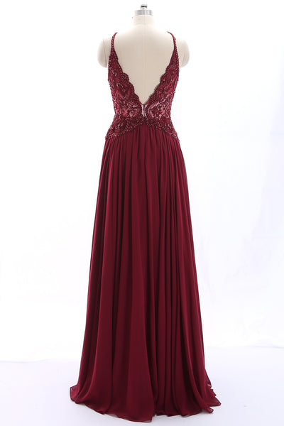 MACloth Halter Lace Beaded Chiffon Burgundy Long Prom Dress Formal Evening Gown