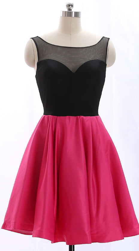 MACloth Straps Black Fuchsia Mini Prom Homecoming Dress Wedding Party Formal Gown