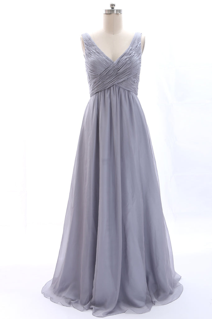 MACloth Straps V neck Chiffon Silver Long Bridesmaid Dress Wedding Party Formal Gown