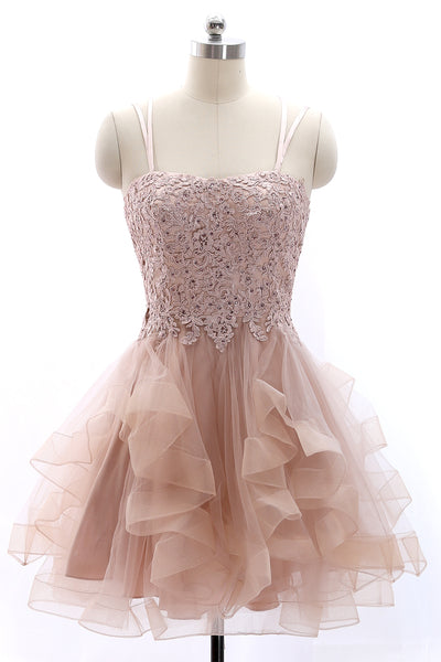 MACloth Spaghetti Straps Lace Tulle Mini Prom Homecoming Dress Vintage Party Formal Gown