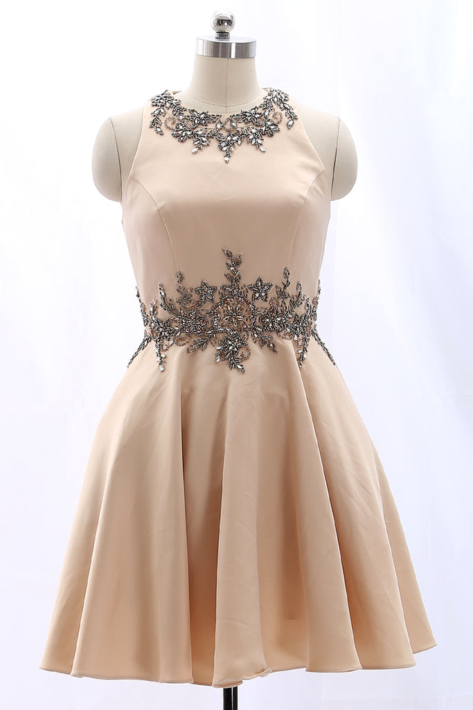 MACloth Straps O Neck Satin Mini Prom Homecoming Dress Champagne Formal Party Dress
