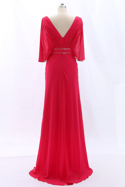 MACloth Short Sleeves V Neck Chiffon Fuchsia Long Formal Evening Gown Mother of the Brides Dress