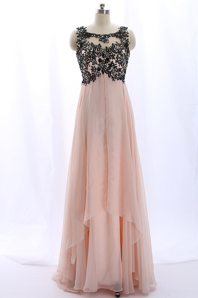 MACloth Lace Chiffon Pearl Pink Long Prom Dress with Open Back