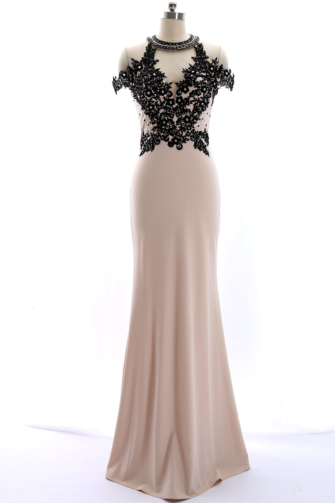 MACloth High Neck Lace Jersey Champagne Mermaid Prom Dress Formal Evening Gown