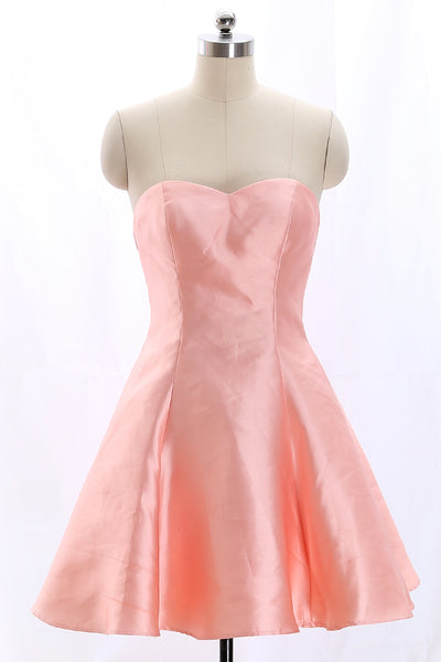 MACloth Strapless Sweetheart Short Bridesmaid Dress Coral Wedding Party Dress