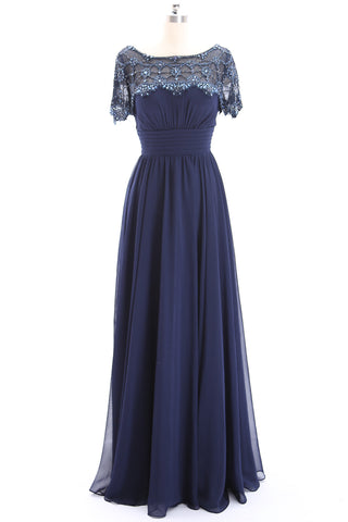 MACloth Short Sleeves Beaded Dark Navy Formal Evening Gown Mother of the Brides Gown