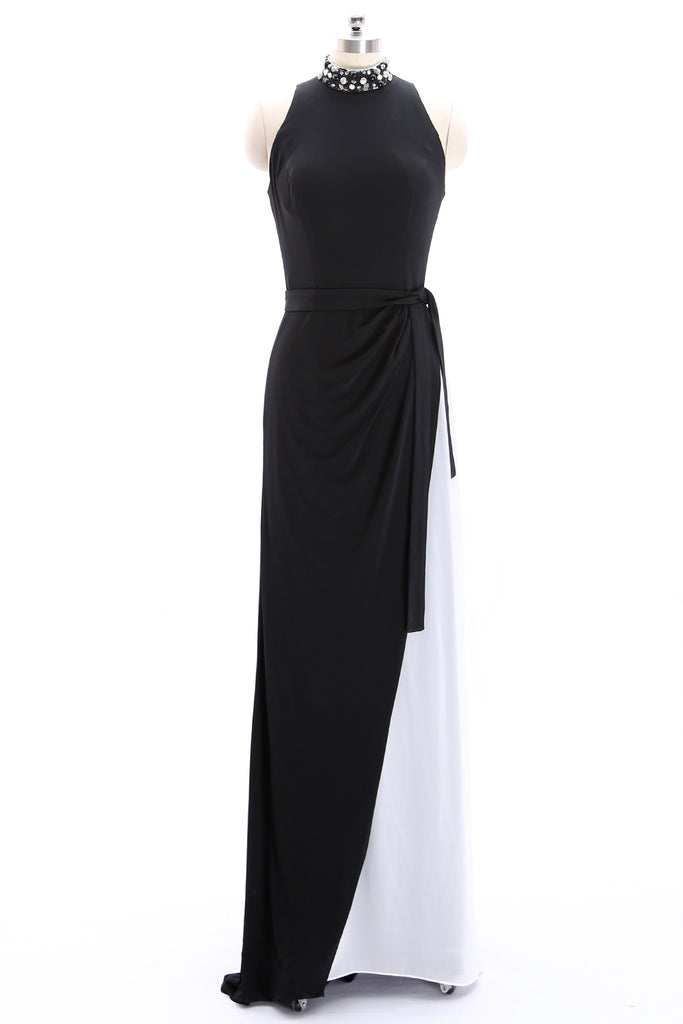 MACloth High Neck Jersey Black Formal Evening Gown Sheath Long Prom Dress