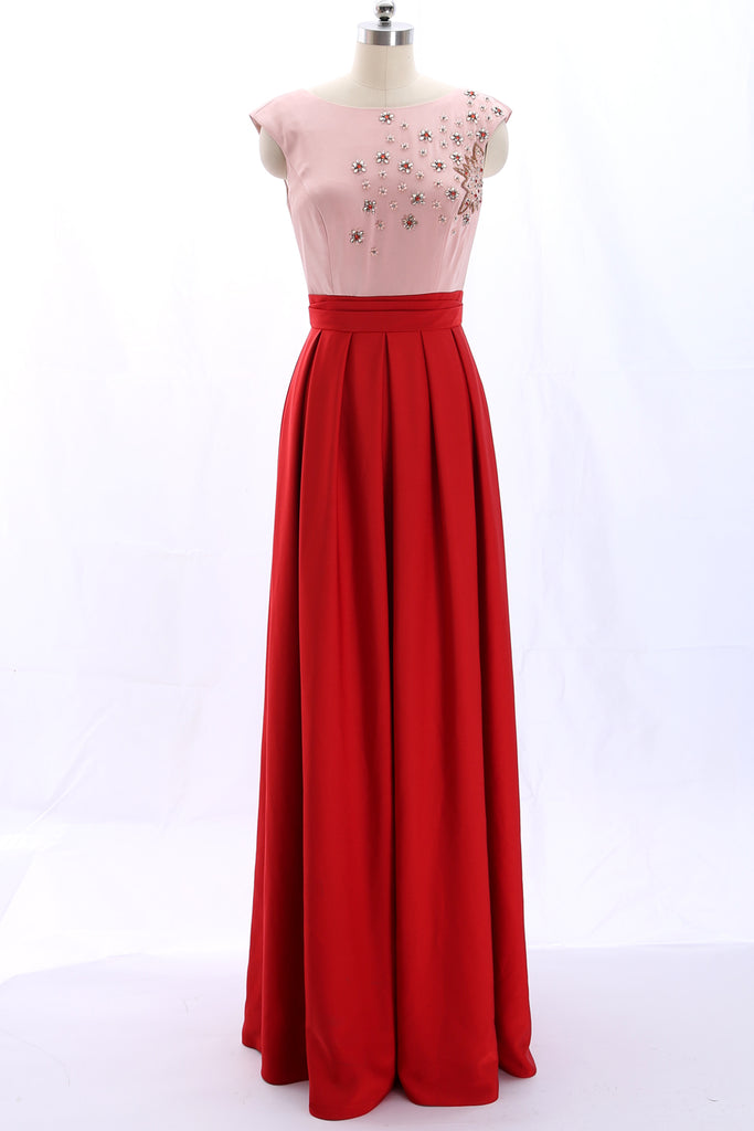 MACloth Scoop Neck Beaded Red Long Formal Evening Gown Wedding Party Dress 360046