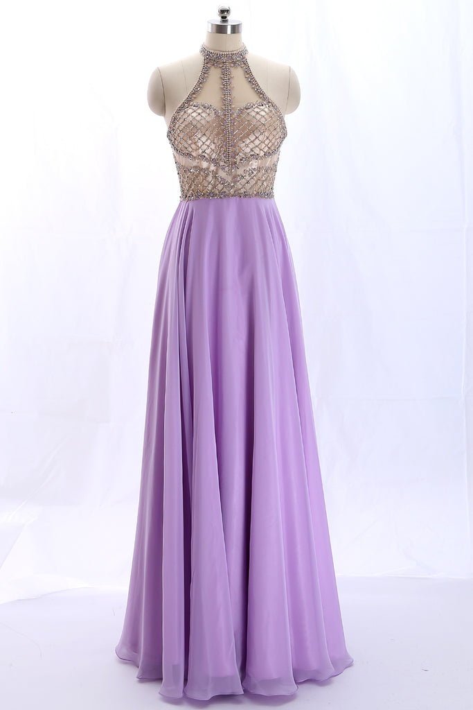 MACloth Halter high neck Beaded Chiffon Lavender Long Prom Dress Formal Gown