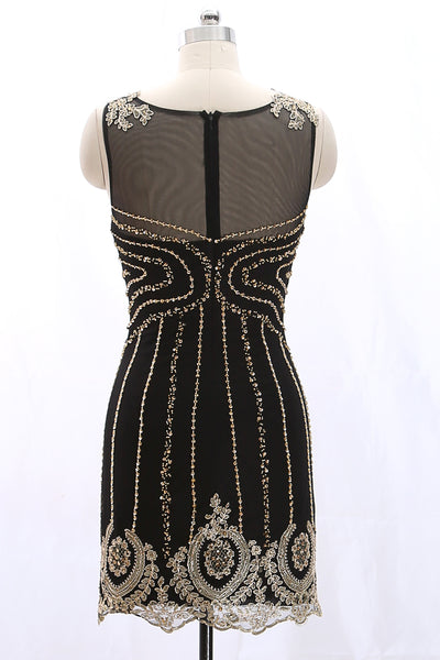 MACloth Straps Scoop Neck Gold Lace Black Mini Prom Homecoming Dress Cocktail Dress