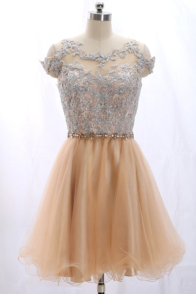 MACloth Off the Shoulder Lace Tulle Champagne Prom Homecoming Dress Cocktail Dress
