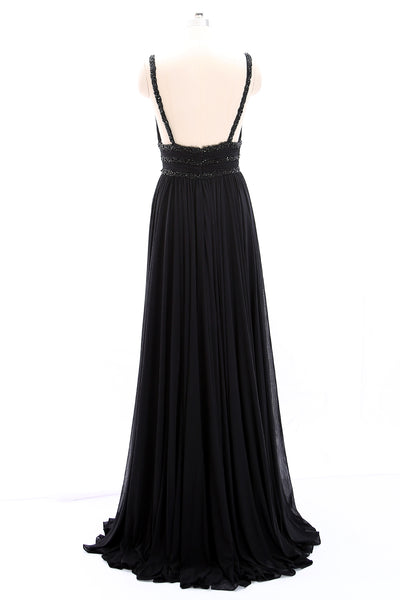 MACloth Straps Deep V Neck Jersey Long Prom Dress Black Formal Evening Gown
