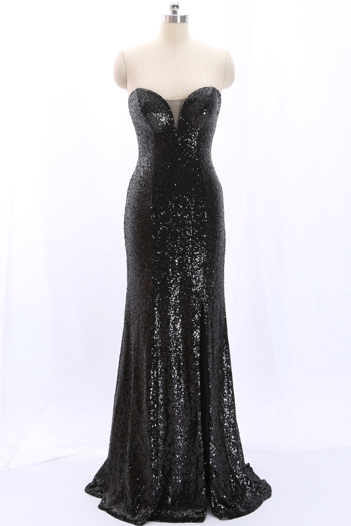 MACloth Strapless Sweetheart Mermaid Black Sequin Long Prom Dress Formal Evening Gown