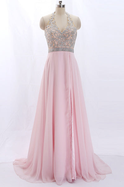 MACloth Halter V Neck Lace Chiffon Pink Prom / Pageant Dress with Slit