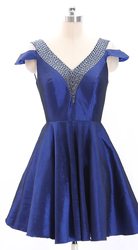 MACloth V Neck Beaded Short Royal Blue Mini Prom Homecoming Dress Cocktail Dress