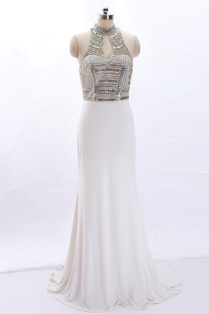 MACloth Sheath High Neck Beaded Long Ivory Prom Dress Formal Evening Gown
