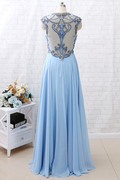 MACloth Cap Sleeves Beaded Crystals Long Sky Blue Chiffon Prom Dress Pageant Gown